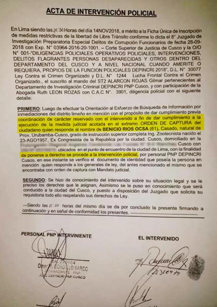 Acta intervención Benicio Ríos
