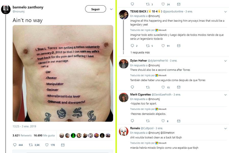 Twitter hombre se tatúa mensaje por infiel