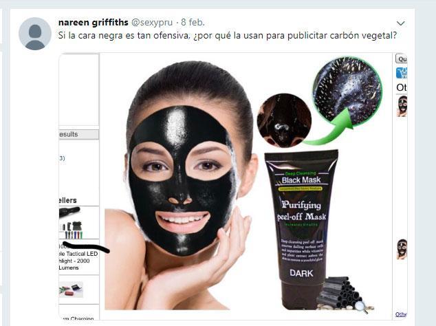 mascara de carbón racista