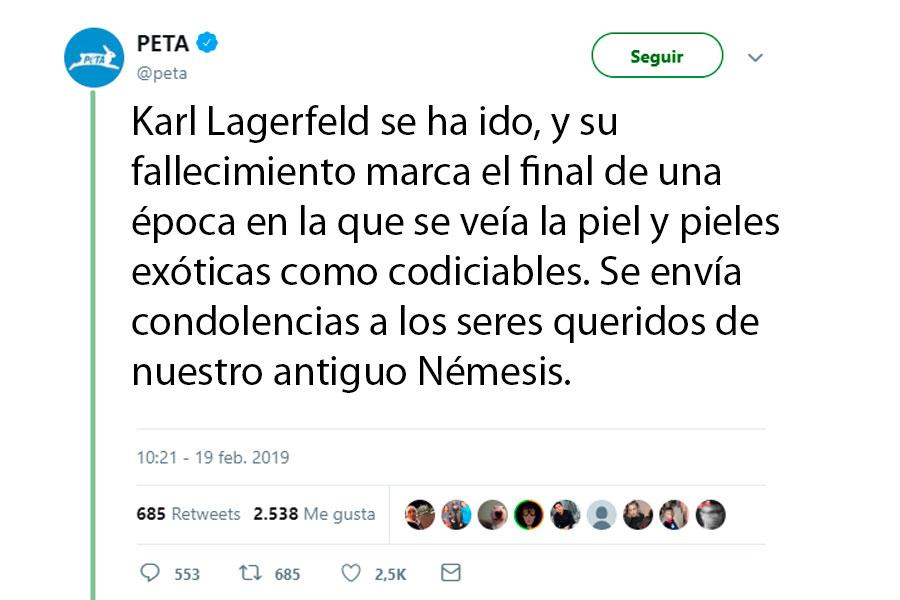 PETA Karl Lagerfeld